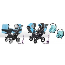 BABY ACTIVE TWINNI 3 w 1 z fotelikami Maxi Cosi Citi