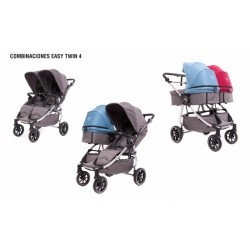 Baby Monsters Easy Twin 4.0 2w1 srebrna rama